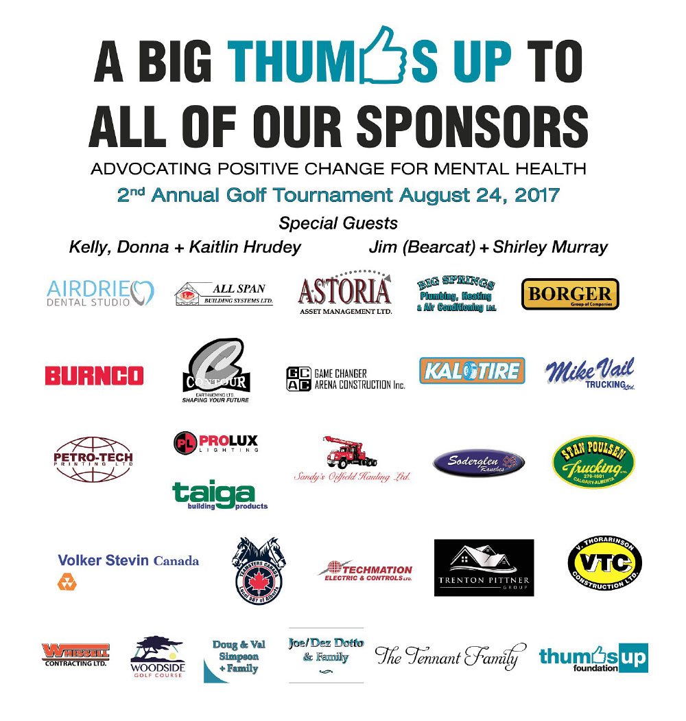 Thumbs Up Foundation Golf Tournament Sponsors 2017