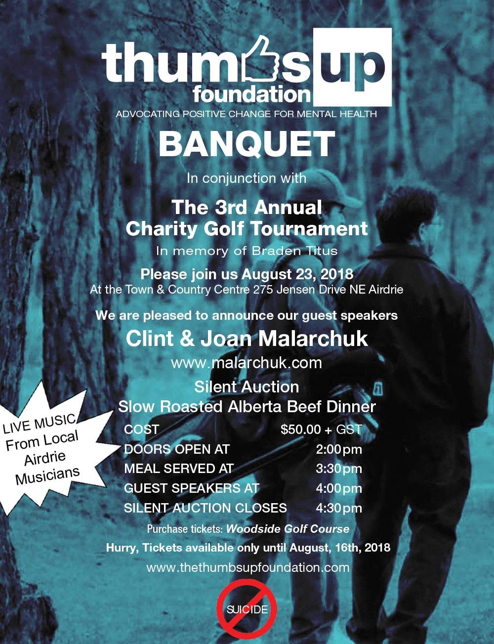 Thumbs Up Foundation Golf Banquet Poster 2018